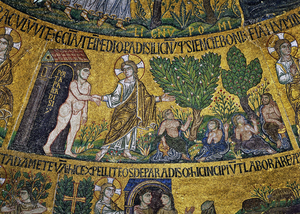 God introduces Adam in the Paradise with its Four Rivers