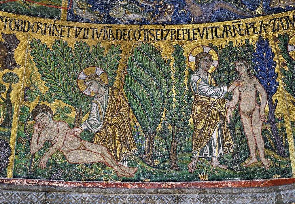 San Marco, Venice - narthex, mosaic [1215–35] Genesis Third circle No 11 - God takes a rib from Adam & creates Eve 13b - ruicon_ru