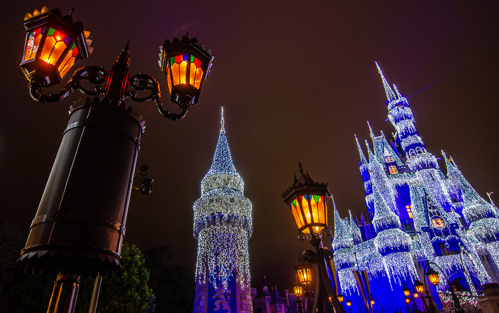 Lights Castle in background Christmas MK