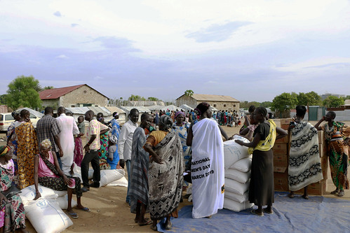Monthly food rations distributed in the Mahad IDP centre in Juba