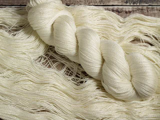 Brilliance Lace – British Bluefaced Leicester wool and silk laceweight yarn 100g – undyed/natural