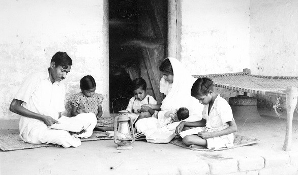 Indian family gathers for devotions India 1951