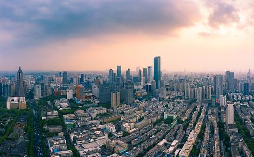 nanjing jiangsu peoplesrepublicofchina drone aerial city cityscape skyline skyscraper sky cloud urban downtown twilight dusk