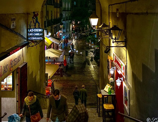 Traversing the back alleys of Madrid Spain on a chilly rainy night...No place I'd rather be...