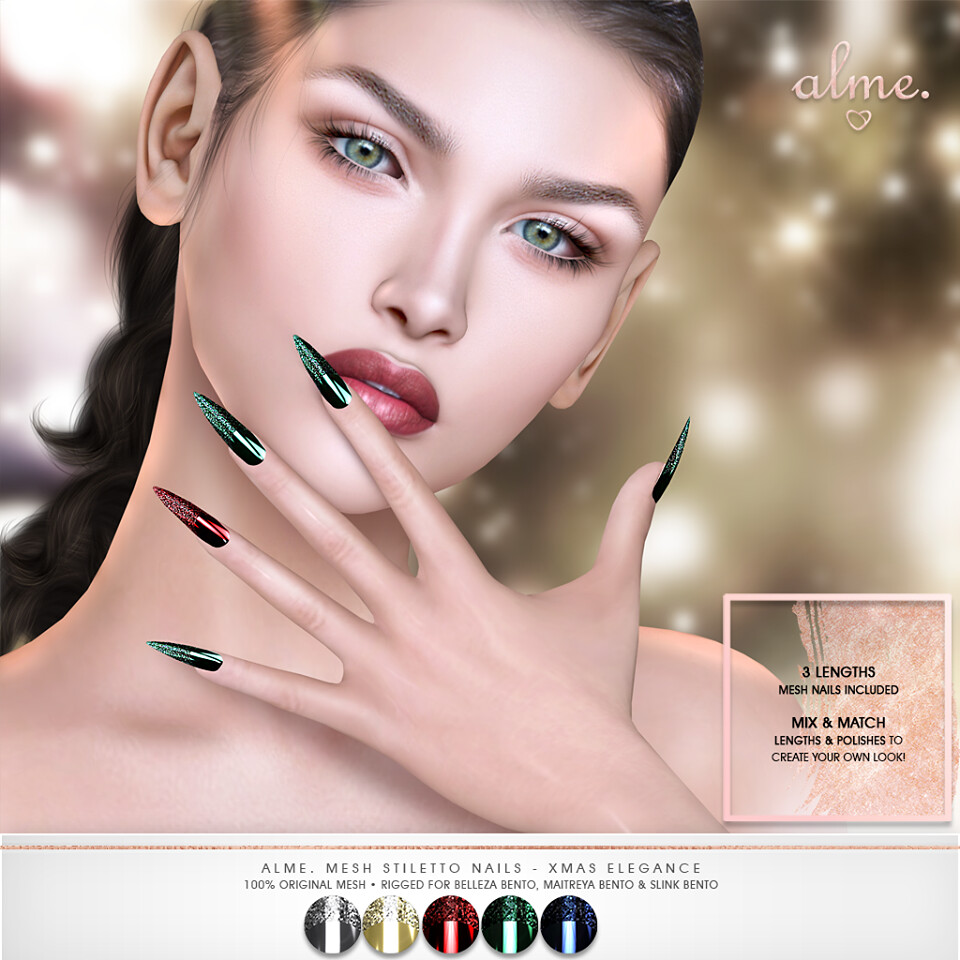 "Alme. for Shiny Shabby – ""Alme Mesh Stiletto nails//Xmas Elegance"" ♥"