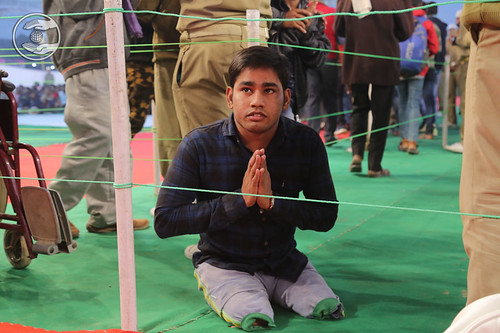 Specially abled saint seeking blessings