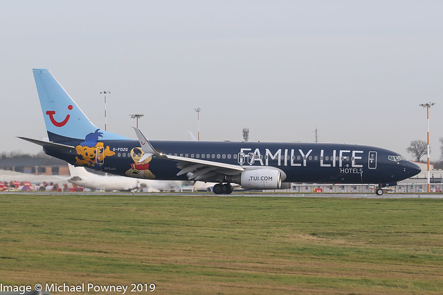 G-FDZG - 2008 build Boeing B737-8K5, Family Life Hotels logojet vacating Runway 27 on arrival at East Midlands