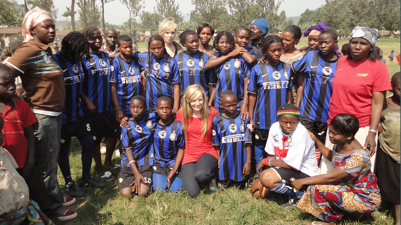 Girls and women from the Congo taking part in a sports programme