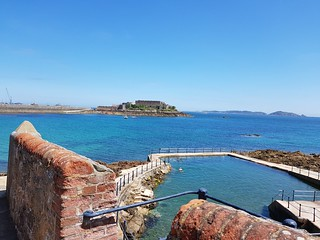 Guernsey sea pool and castle | by Sailing P & G