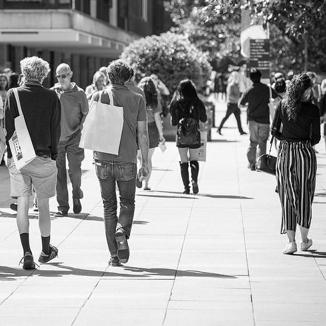 People walking through the University campus
