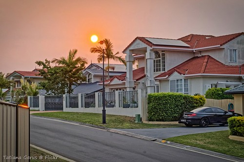 brisbane sunset australia street sun suburb house smoke