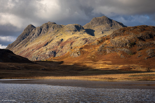 Autumn light on the Langdale Pikes