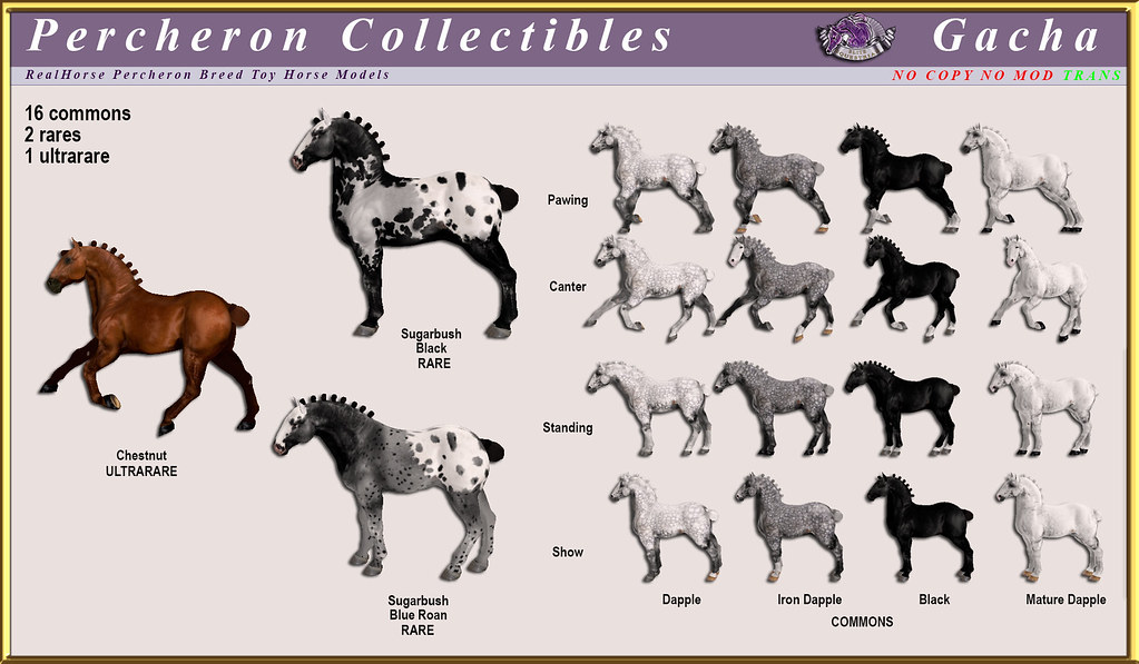 Elite Equestrian's collectible Percheron horse model gacha