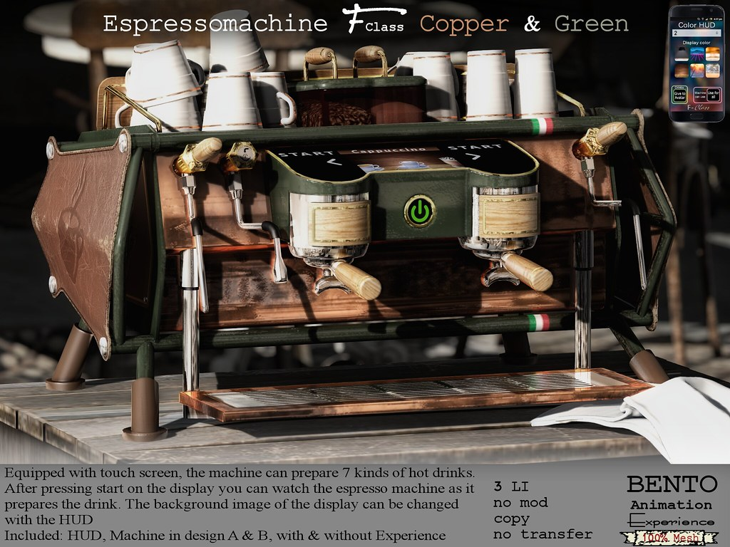 Espressomachine F-Class green with copper