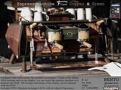 Espressomachine F-Class green with copper