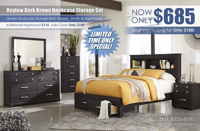 Reylow Dark Brown Storage Bookcase Bedroom Set_B555_Update