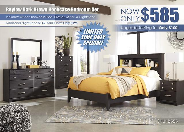 Reylow Dark Brown Bookcase Bedroom Set_B555-31-36-46-65-54-92-Q492_Update