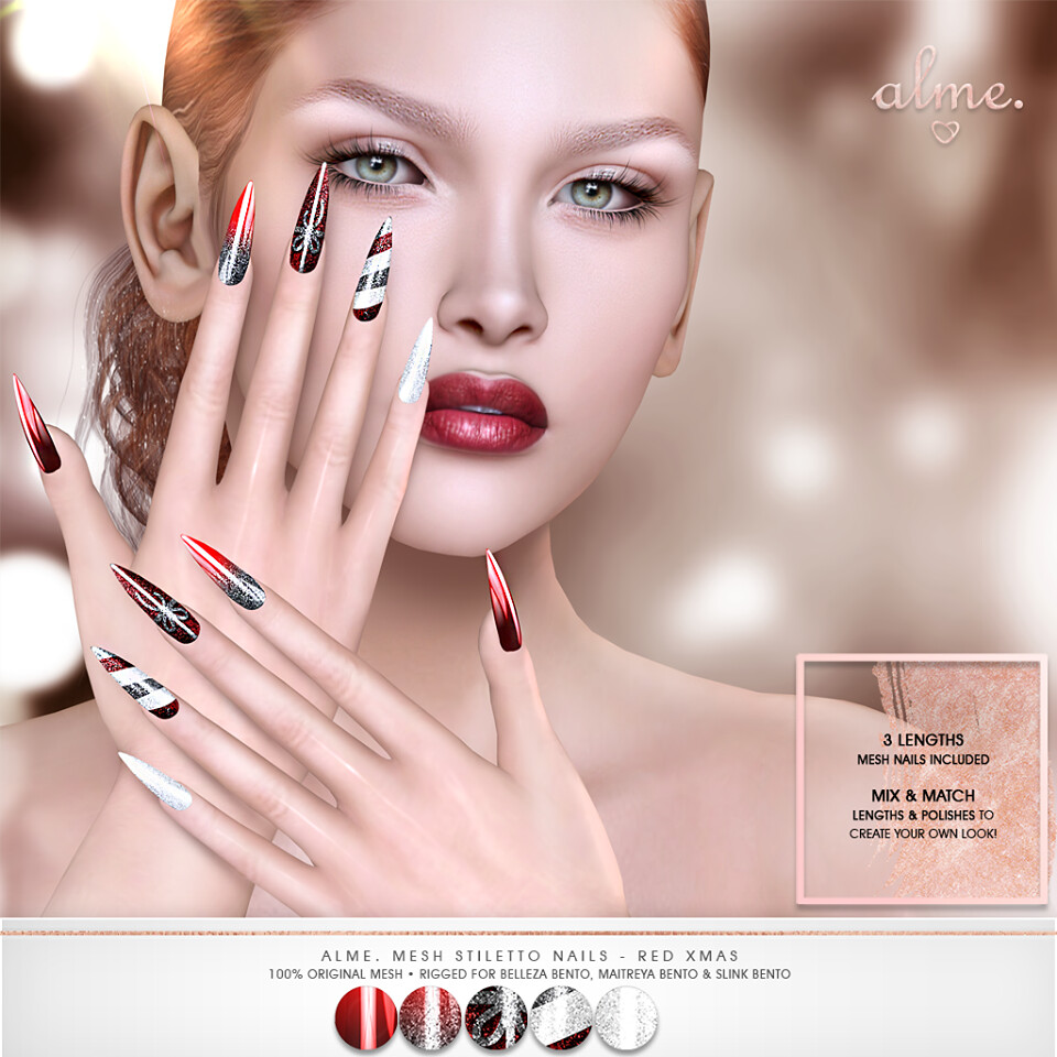 "Alme for Belle Evet – ""Alme Mesh Stiletto nails//Red Xmas"" ♥"