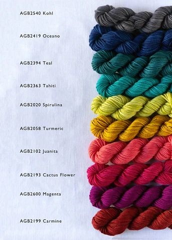 Manos Del Uruguay's new Alegria Grande Bocados - Little 25g Mini-skeins of Alegria Grande are perfect for projects that need a bit of colour.
