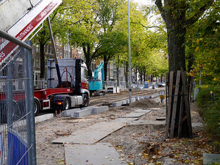 Free photo Amsterdam: picture of road-constructions in Amsterdam city, at the Wittenburgergracht