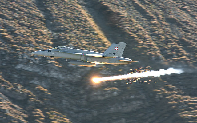 Swiss F/A-18C J-5022 Dispensing Flares