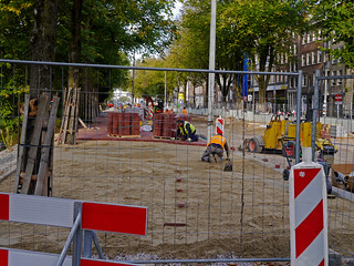 Free photo Amsterdam: picture of road-constructions in Amsterdam city at the Wittenburgergracht