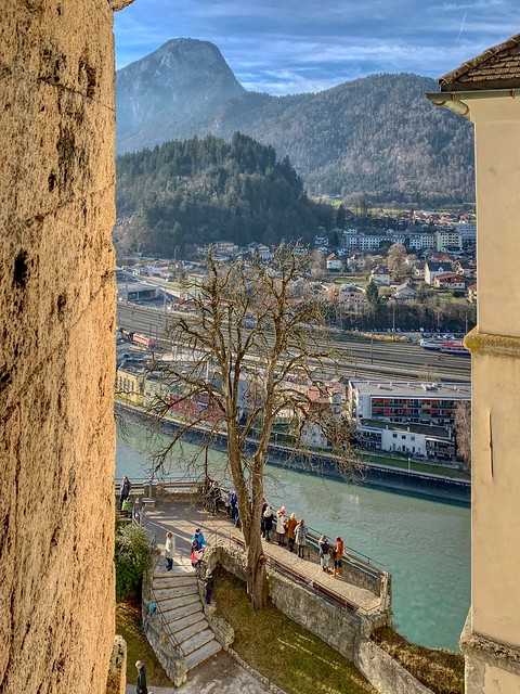 View from Kufstein Fortress with river Inn and Pendling mountain in Tyrol, Austria