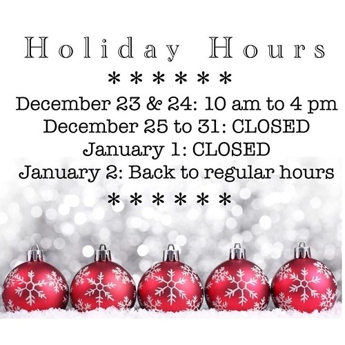 Holiday Hours for 2019