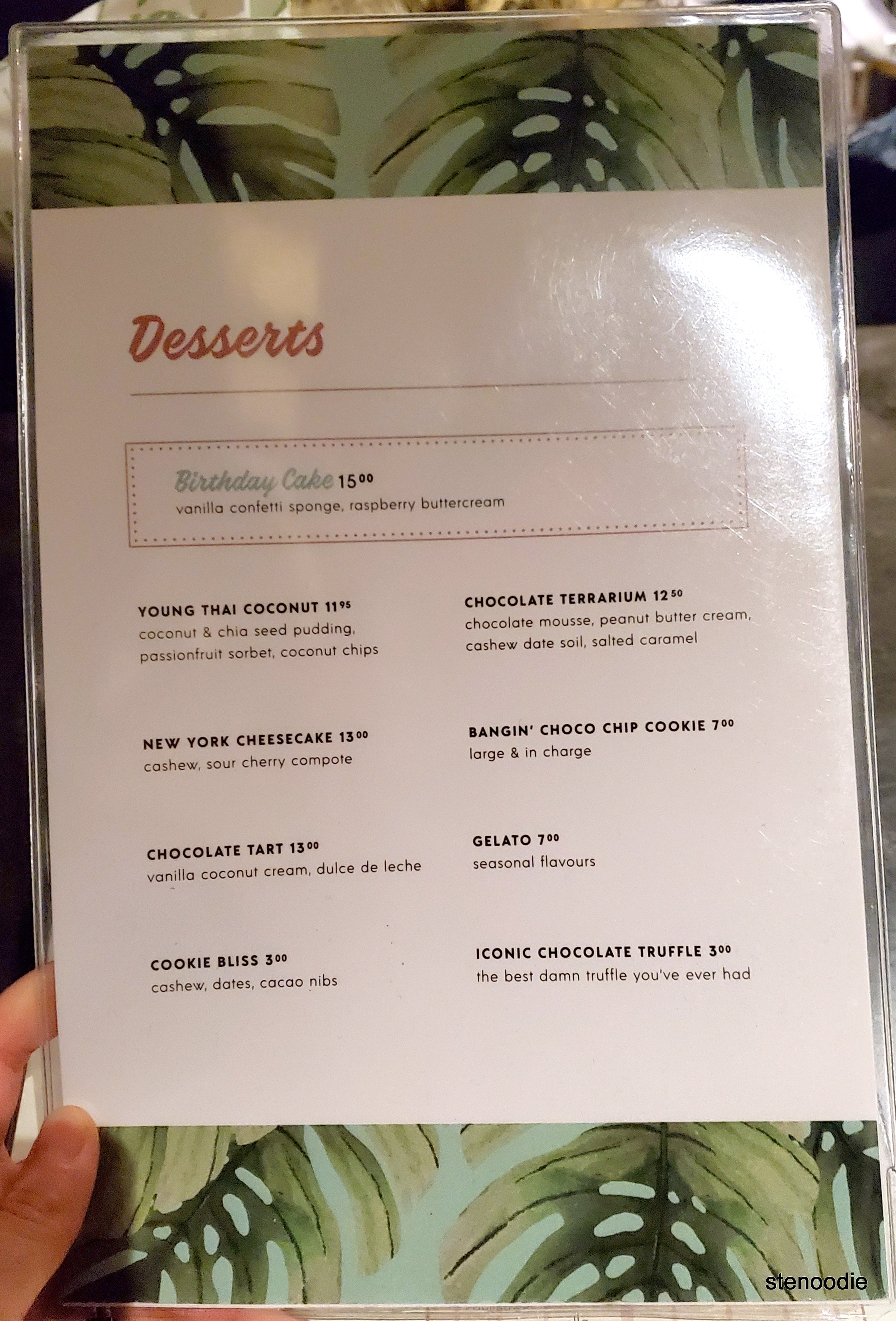 Planta Yorkville dessert menu and prices