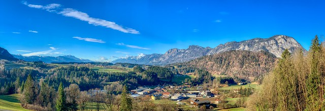 Panorama of Schwoich, the river Inn valley and the Alps in Tyrol, Austria