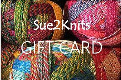 Shopping for someone else but not sure what to give them? Give them the gift of choice with a Sue2Knits Gift Card!