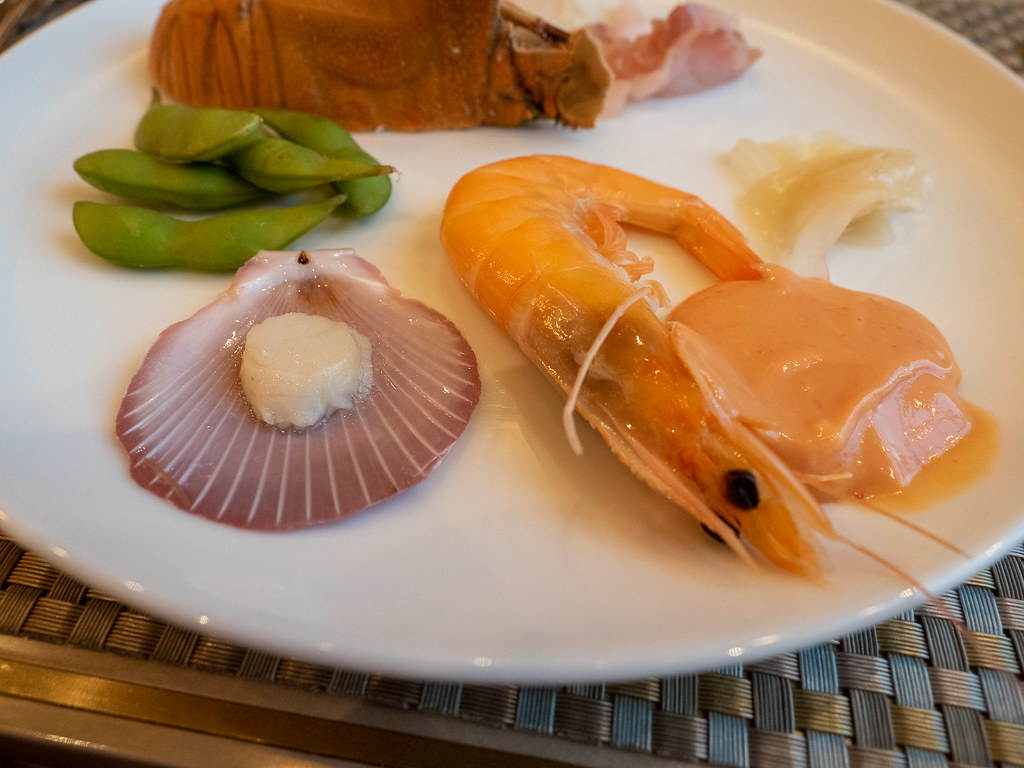 Buffet plate of prawn, scallop, slipper lobster and edamame at Curate