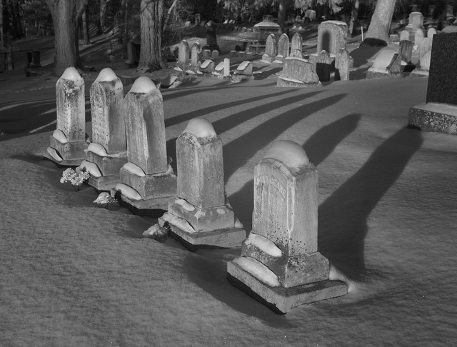 Winter in Pittsford Cemetery (infrared)
