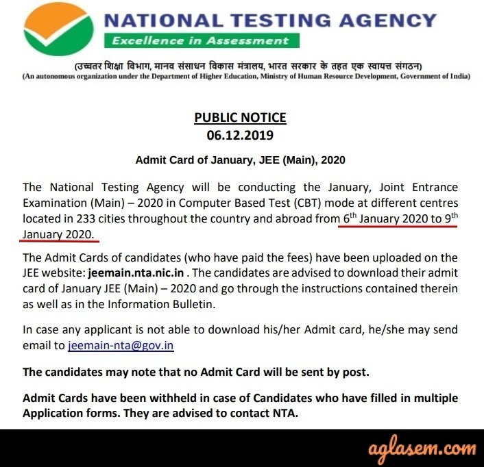 JEE Main 2019 Admit Card Notice