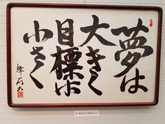 "Poster at nearby Buudhist temple in Minowa, Tokyo  ""Happiness is not in what you get but in valuing what you have."""