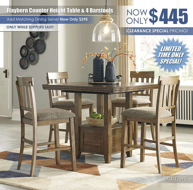 Flaybern Counter Height Table & 4 Barstools_D595