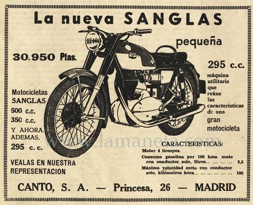 Publicitat Moto Sanglas 295 cc
