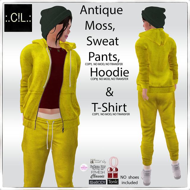 :.C!L.: Antique Moss Sweat Pants, Hoodie & T-Shirt Set Poster