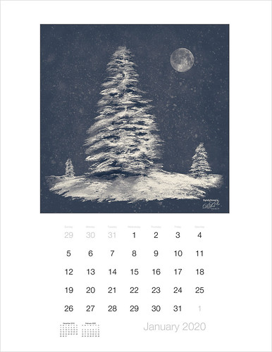 Calendar image of painted fur trees