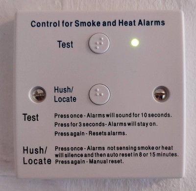 Control for Smoke and Heat Alarms with Test and Hush/Locate buttons