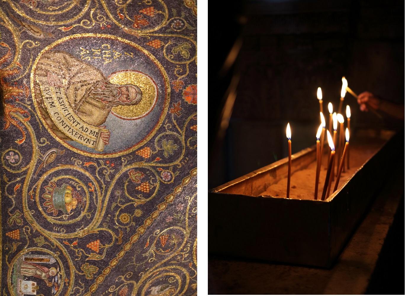Jerusalem, Pyhän Haudan kirkko, kattomosaiikki, kynttilät