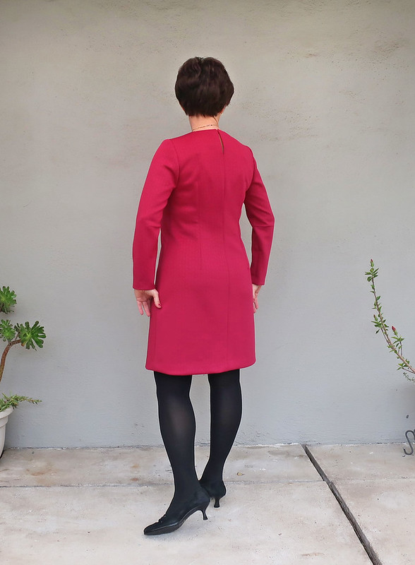 red ponte dress back view
