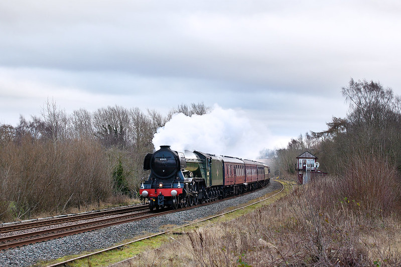 A3 Pacific No.60103 'Flying Scotsman' had the honour of the final steam hauled charter over the Settle Carlisle of 2019, seen cantering along past Howe & Co Signal Box.