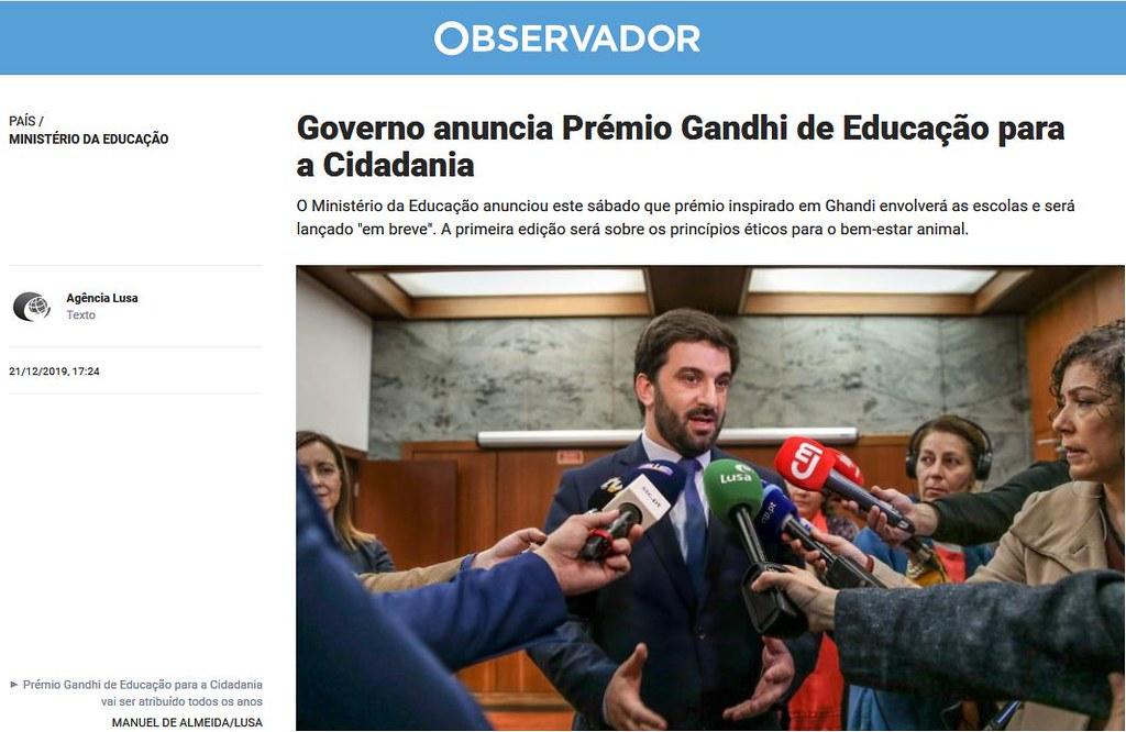 Pérmio Ghandi, Portugal, 2019