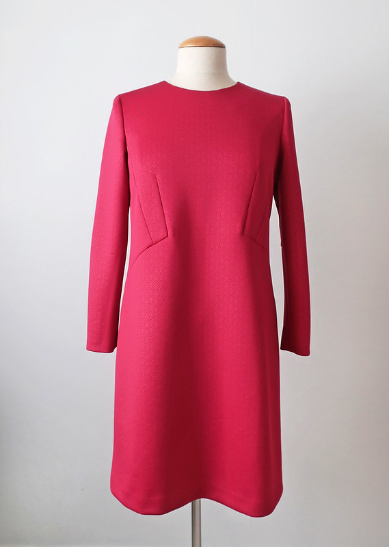 red ponte dress front on form