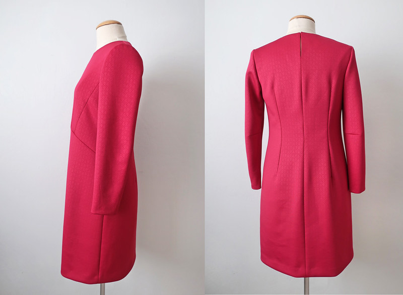 red ponte dress side and back