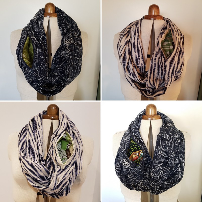 rayon infinity scarves with zippered pocket