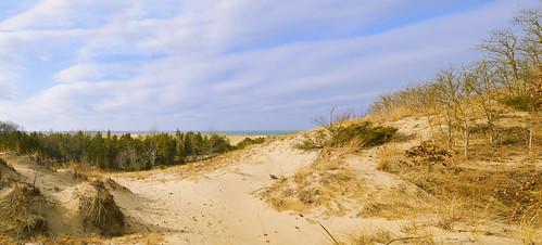 panorama path clouds lake lakeshore lakemichigan dunes beach beachgrass trees