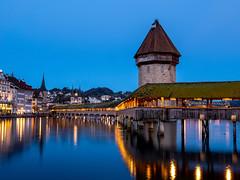 Luzern CH. Kapellbrücke. Blue hour