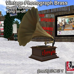 Vintage Phonograph Brass with Happy birthday song